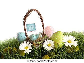 蛋, 复活節籃, 草