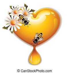 蜂蜜, 心, 圖象