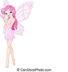 蝴蝶, 仙女, 粉紅色, 漂亮