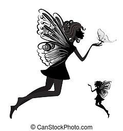 蝴蝶, 仙女, 黑色半面畫像