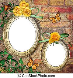 蝴蝶, 牆, 葡萄酒, 玫瑰, 框架, 磚