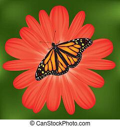 蝴蝶, 花, 紅色, 矢量
