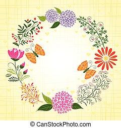 蝴蝶, 花, 背景, 春天, 鮮艷
