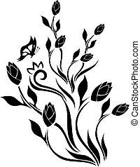 蝴蝶, 郁金香, 設計, 植物