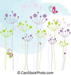 蝴蝶, 鮮艷, 摘要, 植物