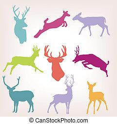 行動, 鹿, 集合, 黑色半面畫像