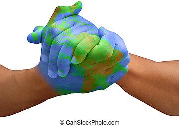 行星地球, 繪, 人, 手