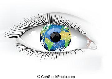 行星, 眼睛, 地球, desaturated