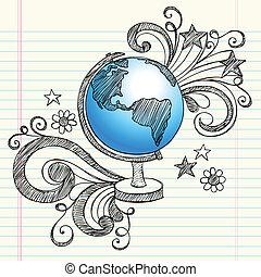 行星, sketchy, 全球, doodles, 學校