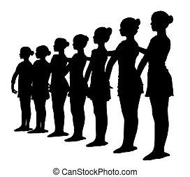 行, 七, 站立, 黑色半面畫像, 芭蕾舞女演員