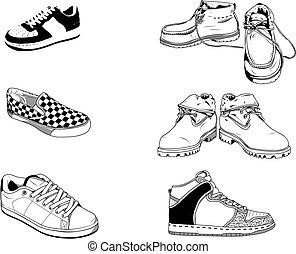 街道, 鞋子, 人