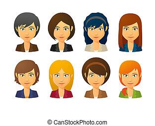 衣服, 女性, avatars, 風格, 各種各樣, 穿, 頭髮