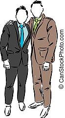 衣服, 插圖, 矢量, 雅致, 兩個人