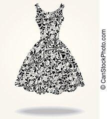 衣服, 矢量, 黑色半面畫像, 被隔离, 背