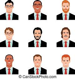 衣服, 風格, 人, 插圖, avatars, 集合, 肖像, 矢量, 套間