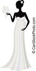 衣服, 黑色半面畫像, 怀孕, 長, 新娘, 矢量