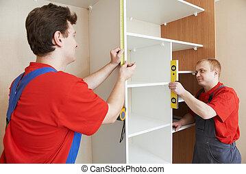 衣櫃, joiners, 安裝, 工作