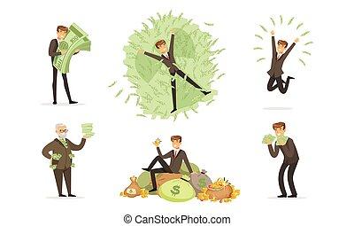 袋子, 包, 矢量, 第一流, 人, 衣服, 硬幣。, 注釋, 金, illustration., 綠色, 洗澡