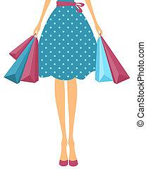 袋子, 女孩, 購物