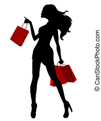 袋子, 婦女, 黑色半面畫像, 年輕, 黑色紅