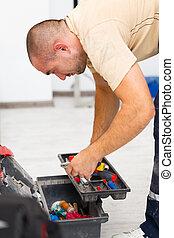 袋子, 工具, 他的, 做零活的人