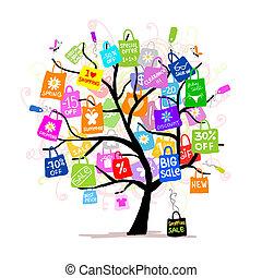 袋子, 概念, 購物, 大的樹, 銷售, 你, 設計