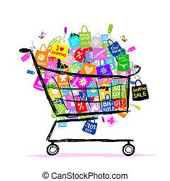 袋子, 概念, 購物, 大, 銷售, 設計, 籃子, 你