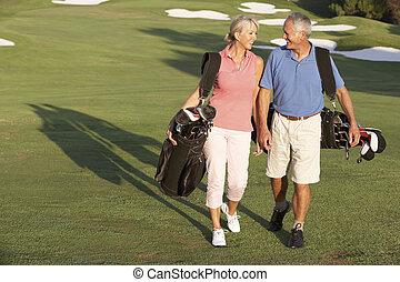 袋子, 步行, 高爾夫球, 夫婦, 路線, 運載, 向前, 年長者