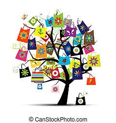 袋子, 設計, 購物, 你, 樹