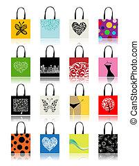 袋子, 設計, 集合, 購物, 你