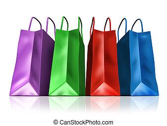袋子, 購物, 正面圖