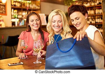 袋子, 購物, 餐館, 酒吧, 酒, 或者, 婦女