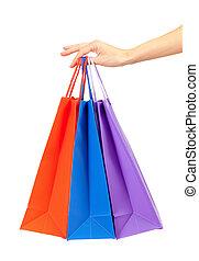 袋子, 集合, 購物, 鮮艷, 婦女的, 被隔离, 手, 白色