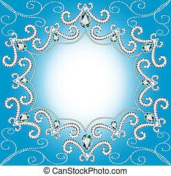 被扭, 邊緣, 背景, 珍珠, 銀, 裝飾品