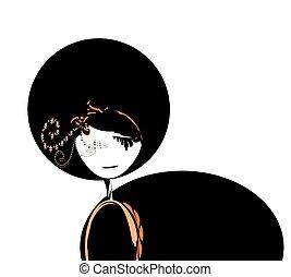 被給穿衣, 女孩, 黑色, 插圖
