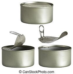 被開放能夠, 金屬, 被隔离, 錫罐, 背景, 白色, 在上方, 關閉