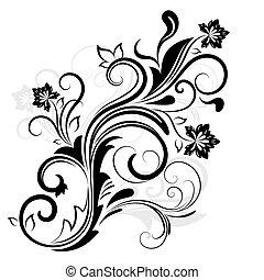 被隔离, 元素, 設計, white., 植物, 黑色, 白色