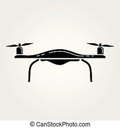 被隔离, 插圖, 雄峰, 背景。, 矢量, quadcopter, 白色, 圖象