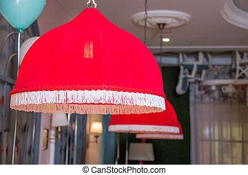 被隔离, 燈, 內部, 光, 紅色, 大, 垂飾, 餐館