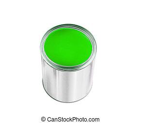 被隔离, 畫罐, 綠色, 罐頭, 白色, 打開