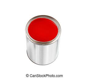 被隔离, 畫罐, 罐頭, 白色, 打開, 紅色