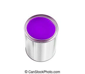 被隔离, 畫罐, 罐頭, 紫色, 白色, 打開