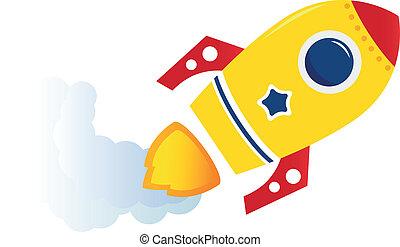 被隔离, 黃色, 卡通, 飛行, 火箭, 白色