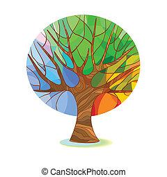 被風格化, 樹, -, 四個季節