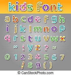補綴品, 漂亮, 孩子, 圖樣, 字母表