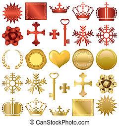 裝置設計, 裝飾品, 金, 紅色