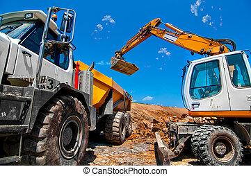 裝貨, 挖掘機, 站點, 建設, 大, 工業, 新