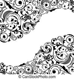 裝飾品, space., 矢量, 黑色, 植物, 角落, 白色, 模仿