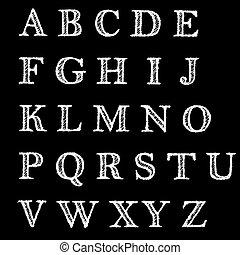裝飾, 信件, 字母表, 手, 英語, 畫