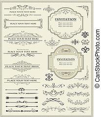 裝飾, 元素, 設計, 頁, calligraphic